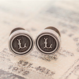 Antiqued Pewter Initial Cufflinks