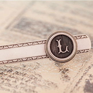 Personalized Antiqued Silver Tie Clip