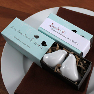 Love Bird Salt & Pepper Shakers in Gift Package with Love Bird Ribbon - 25CT