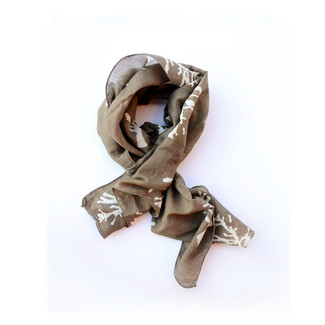 Brown Taupe Tree Silk Scarf