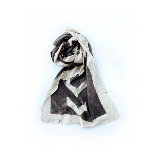 Creme and Brown Silk Cotton Blend Scarf