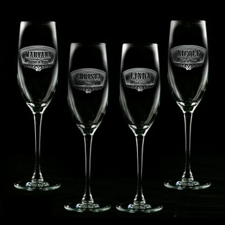 Bridesmaid & Maid of Honor Personalized Champagne Glasses