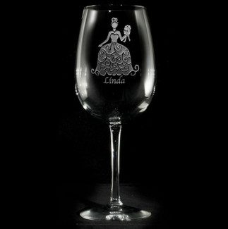 Bridesmaid Wedding Dress Wine Glasses