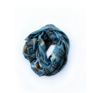 Blue Teal Cotton Square Scarf