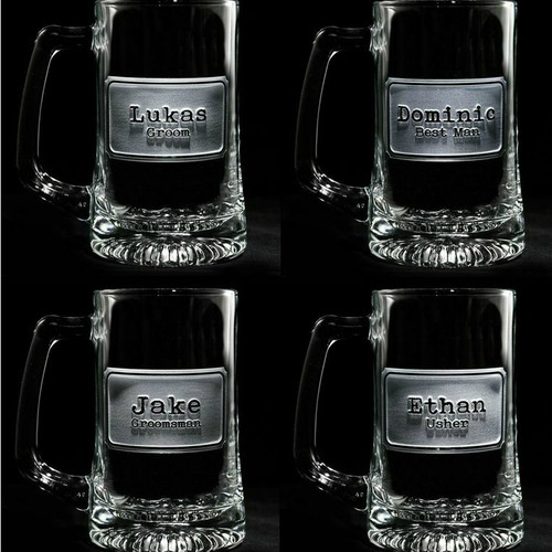 Best Man & Groomsmen Shield Beer Mugs
