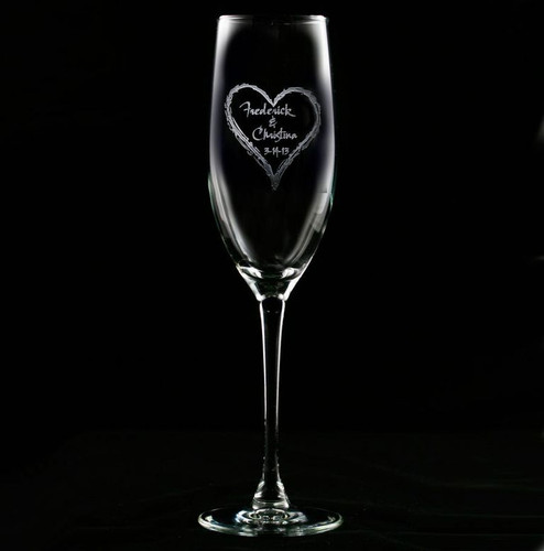 Wedding Heart Engraved Champagne Flute