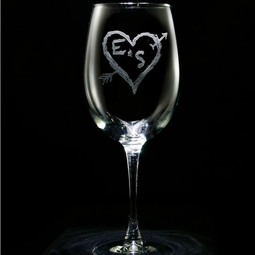 Heart & Arrow Wine Glasses - Set of 2