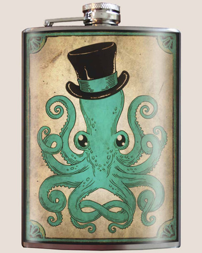 Gentleman Octopus Flask, 8 oz. stainless steel