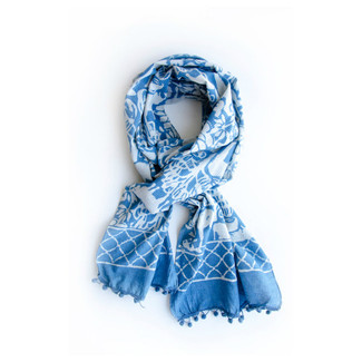 Indigo Blue and White Baagh Scarf with Pom Poms