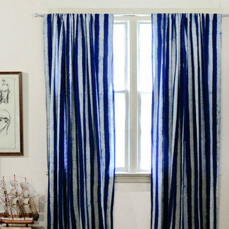 Navy Blue Stripe Curtains