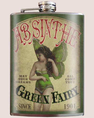 Green Fairy Absinthe Flask - 8 oz. stainless steel