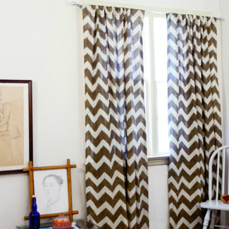 Taupe Chevron Window Curtains