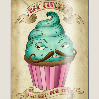 Bad Cupcake Flask - 8 oz. stainless steel