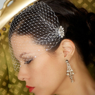 Birdcage Veil with Crystal Combs
