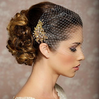 Bridal Veil and Gold Bridal Comb