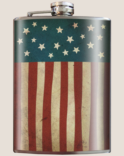 Old Glory Flask, 8 oz. stainless steel