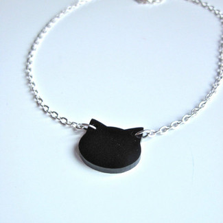Modern Black Cat Charm Necklace