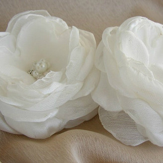 Handmade White Hair Flowers
