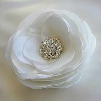 Rhinestone White Satin Flower Hairpiece