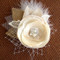 Ivory Champagne Rustic Hair Flower Clip
