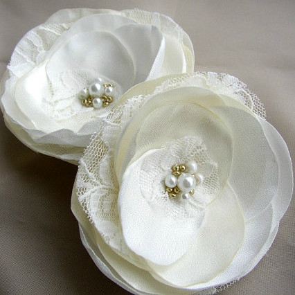 ivory White Satin Flowers Hairpiece