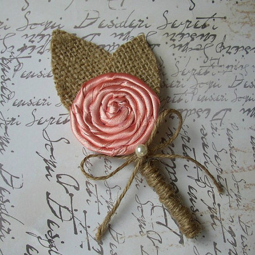 Pink Peach Coral Burlap Boutonniere