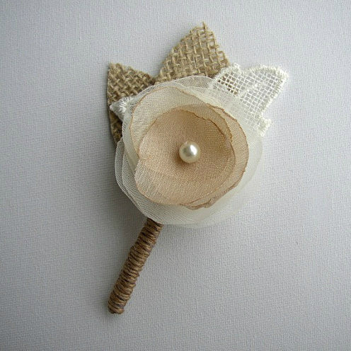 Ivory Rustic Mens Boutonniere