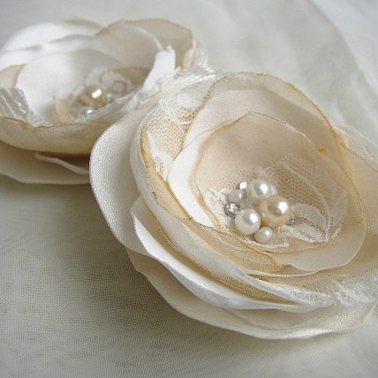 Ivory Champagne Wedding Flower Hairpiece