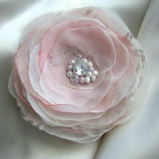 Blush Pink Ivory Flower Hair Clip