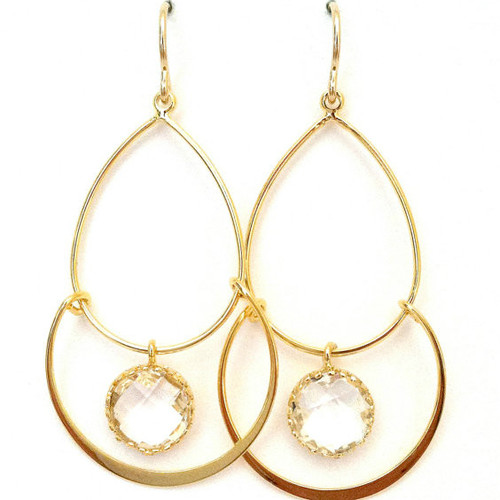Clear Faceted Drop Geometric Hoop Earrings