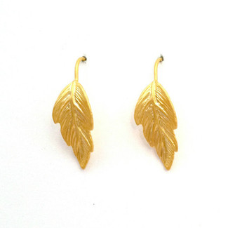 Gold Leaf Dangle Fishhook Earrings