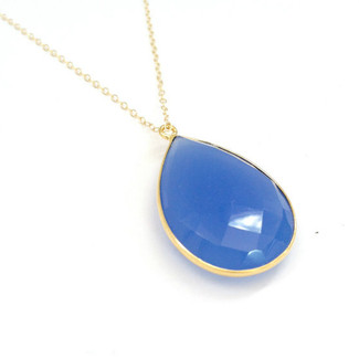 Sapphire Blue Chalcedony Stone Pendant Necklace