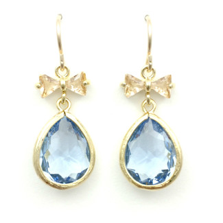 Bow-tie Champagne and Light Sapphire Dangles