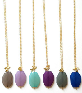 Drop Necklace with Gold Leaf Detail