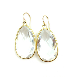 Crystal Gold Teardrop Earrings