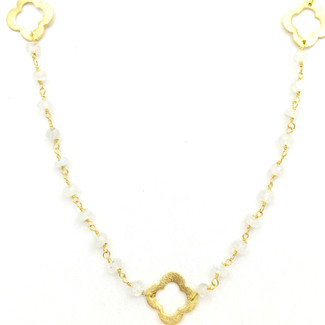 Gold Clover and Moonstone Rosary Necklace