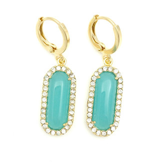Oval Turquoise with Crystal Gold Dangle Earrings