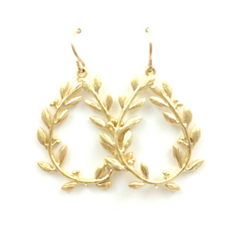 Gold Leaf Hoop Drop Earrings