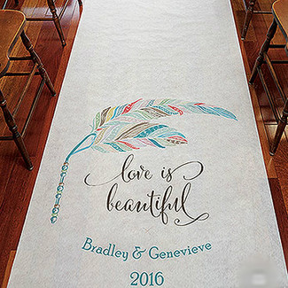 Whimsy Feather Personalized Aisle Runner