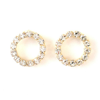Swarovski Crystal Sparkle Hoop Gold Post Earrings
