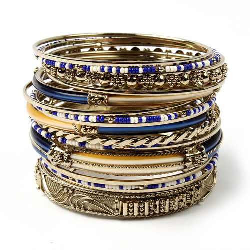 Blue and Ivory Bangle Set