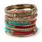 Turquoise and Red Bangle Set