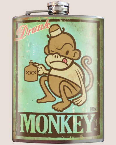Drunk Monkey Flask - 8 oz. stainless steel