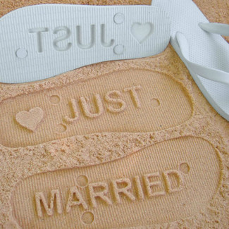 Just Married Wedding Flip Flops