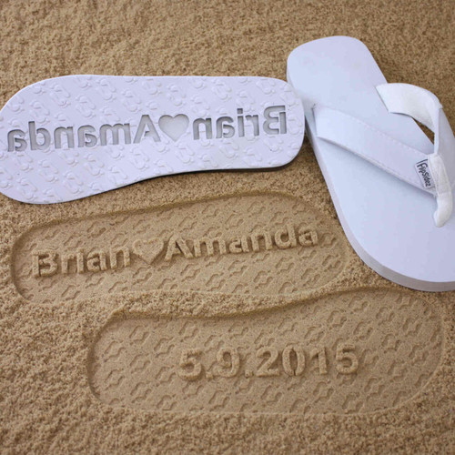 Customized Wedding Flip Flops with Heart