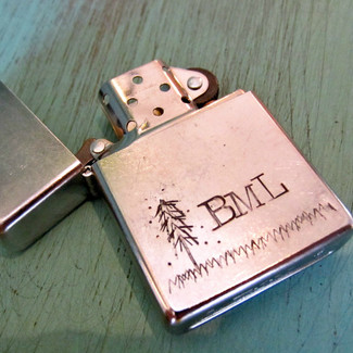 Handstamped Personalized Lighter with Timber Design
