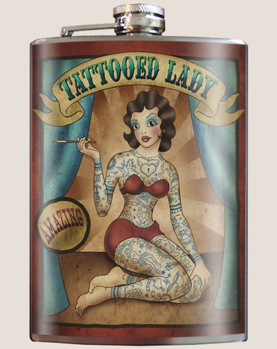 Tattooed Lady Flask, 8 oz. stainless steel