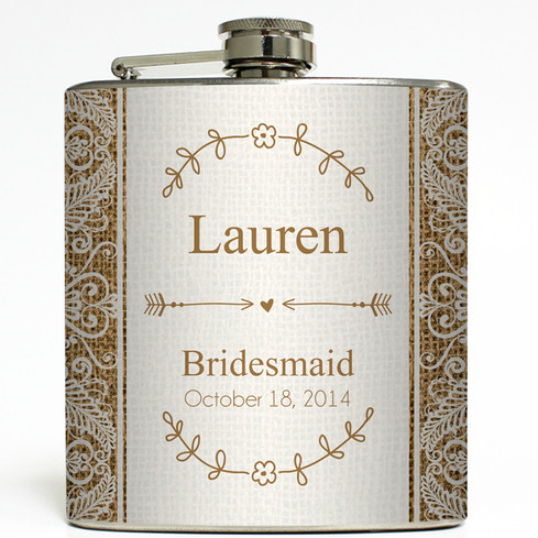 Personalized Burlap & Lace Bridal Party Flask