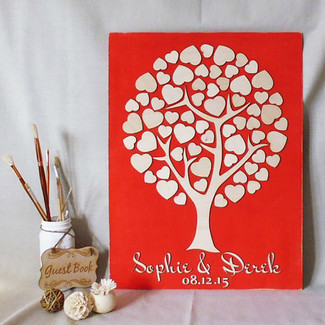 Tree Hearts Wedding Guestbook Alternative