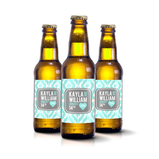 Ikat Wedding Beer Bottle Label